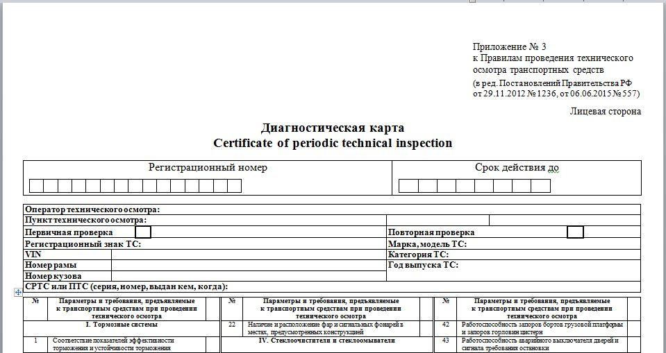 Диагностическая карта - документ, необходимый для оформления ОСАГО