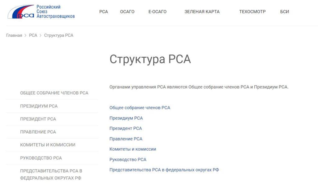 Структура Российского союза автостраховщиков