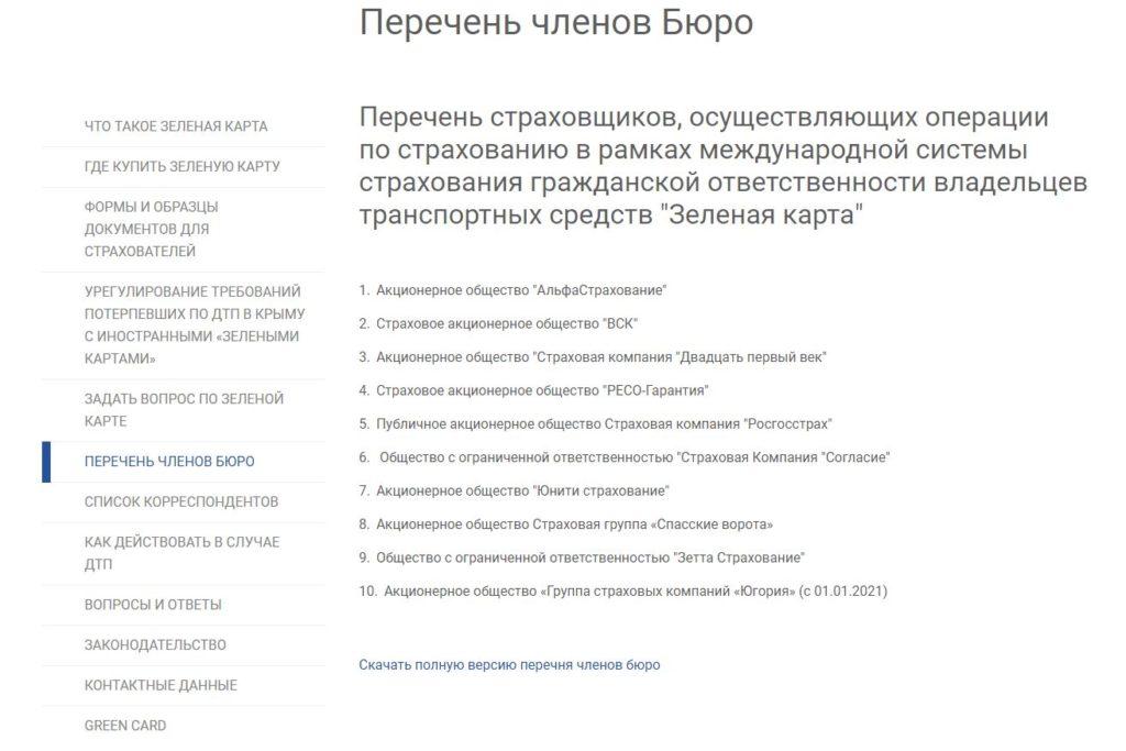 """Перечень страховщиков, осуществляющих операции по страхованию в рамках """"Зелёной карты"""""""